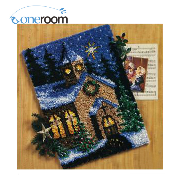 Noneroom Zd101 Snow Scenery On Night Hook Rug Kit Diy Unfinished Crocheting Yarn Mat Latch Floor In From Home Garden
