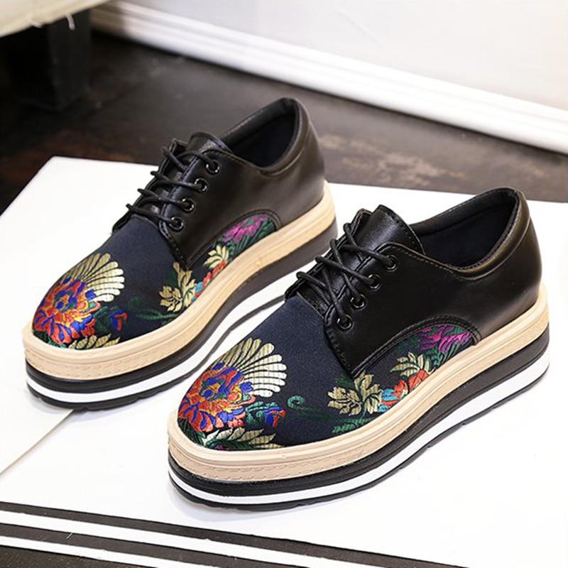 Women Platform Flat Platform font b 2017 b font Spring and Autumn Women Shoes Lace Up