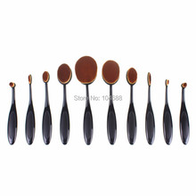 10 Pcs Tooth Brush Shape Oval Makeup Brushes MakeUp Brushes Set Foundation Contour Powder Eyebrow Blush Eyeshadow Brush Set PN10