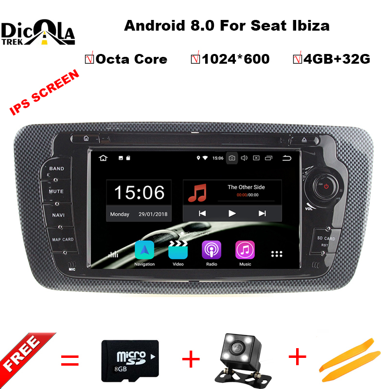 Octa Core 2 Din Android 8.0 Car DVD GPS navigation autoradio for Seat Ibiza 2009 2010 2011 2012 2013 4GB RAM 32GB ROM Free Map цена