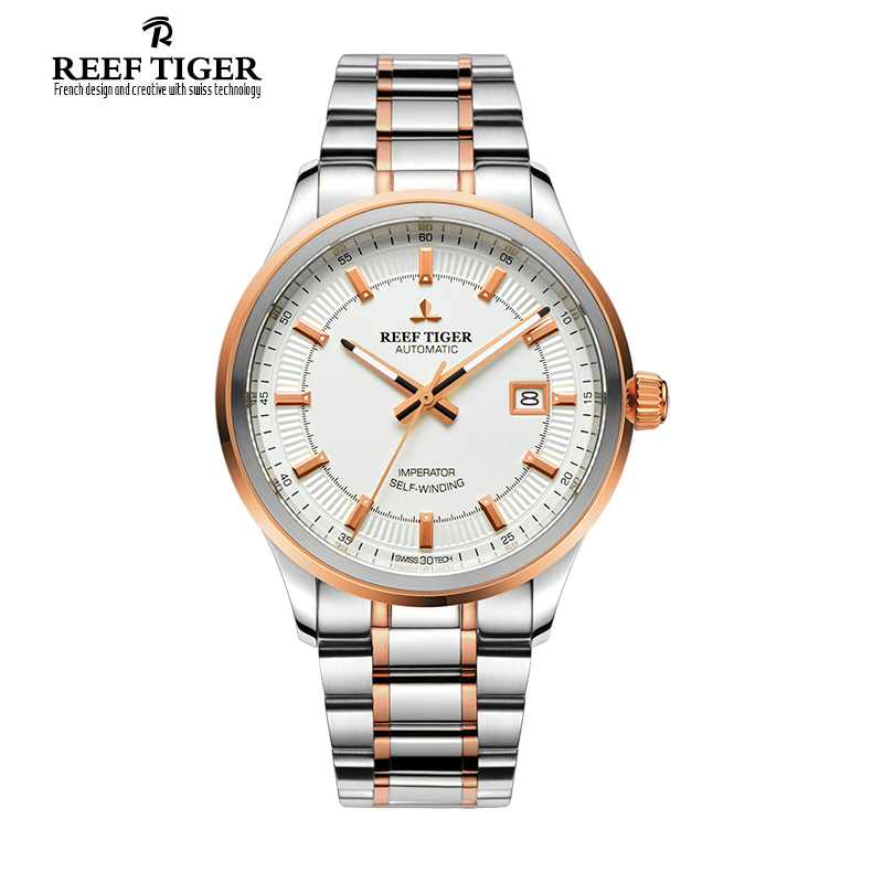 Reef Tiger/RT Watches Steel/Rose Gold Two Tone Business Dress Watch For Men Miyota 9015 Super Luminous Automatic Watches RGA8015 best selling reef tiger rt classic business watches for men rose gold steel automatic watch with date rga823
