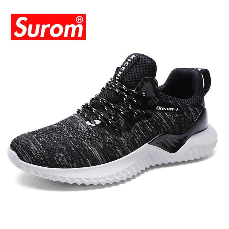 SUROM dos homens Respirável Sapatos Casuais Homens Sapatos Lace Up Fly Tecer Malha Sapatos Da Marca de Luxo 2018 de Moda de Nova Sneakers Além Disso tamanho 39-46
