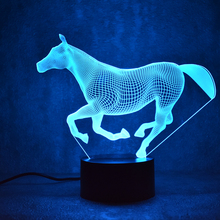 3D LED Night Coral Horse 7 Color Change LED Lights USB Novelty Wireless Wall Lamp Children's Night Light Atmosphere Desk Lamp