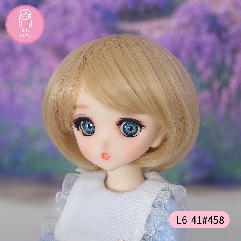 Wig For BJD Doll free shipping size L6# 16-17cm 1/6Short Wig Bangs Heat Resistant Synthetic Fashion bjd doll Wigs in beauty synthetic bjd wig long wavy wig hair for 1 3 24 60cm bjd sd dd luts doll dollfie cut fringe