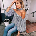 2017 Primavera hombro sexy plaid blusas Mujeres de manga larga halter Blusas