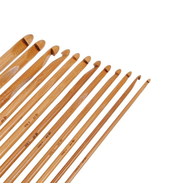 12pcs/set Bamboo Crochet Hooks