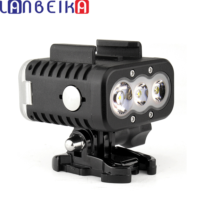 все цены на LANBEIKA For Gopro Waterproof Underwater 50M Scuba Diving Fill LED Light For GoPro Hero 6 5 4 3+ SJCAM SJ5000 SJ6 SJ7 Sports Cam