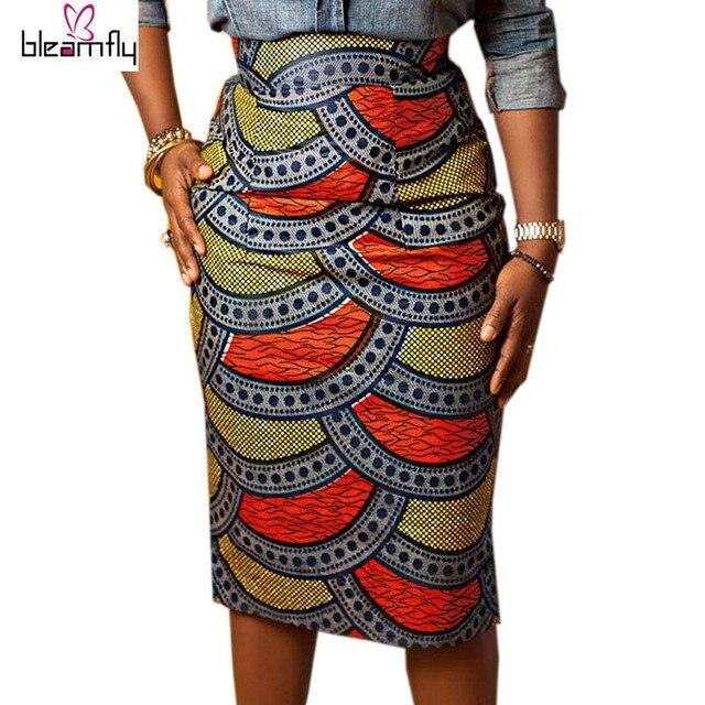 Юбка-карандаш женщины 2016 Летний Стиль Многоцветный Юбки Дамы Африканской Печати Юбка Высокой Талией Длиной До Колен Bodycon Винтаж Saia