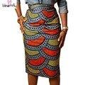 As mulheres saia lápis 2016 Verão Multicolor Estilo Saias Senhoras Africano Impressão Saia De Cintura Alta Na Altura Do Joelho-Comprimento Bodycon Saia Do Vintage