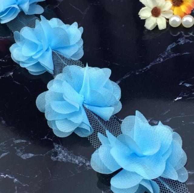 Flower Petals Chiffon Leaves Trim Wedding Dress Bridal Lace Fabric AQUA sold by the yard