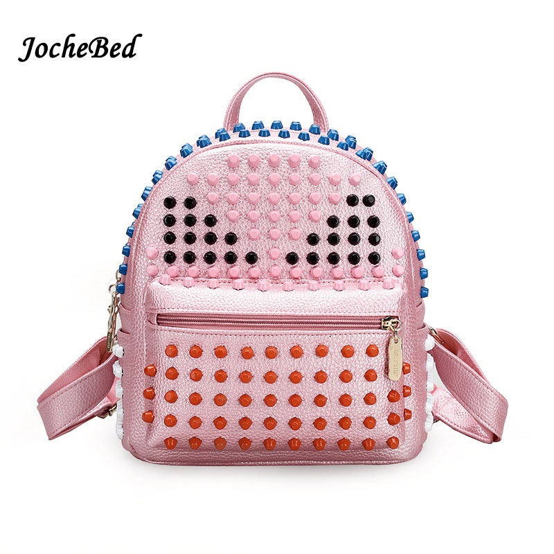 Fashion Colorful Rivet Monster Women Backpack High Quality Brand Backpack For Teens Schoolbag Backbag Mochila 2017 Female Travel