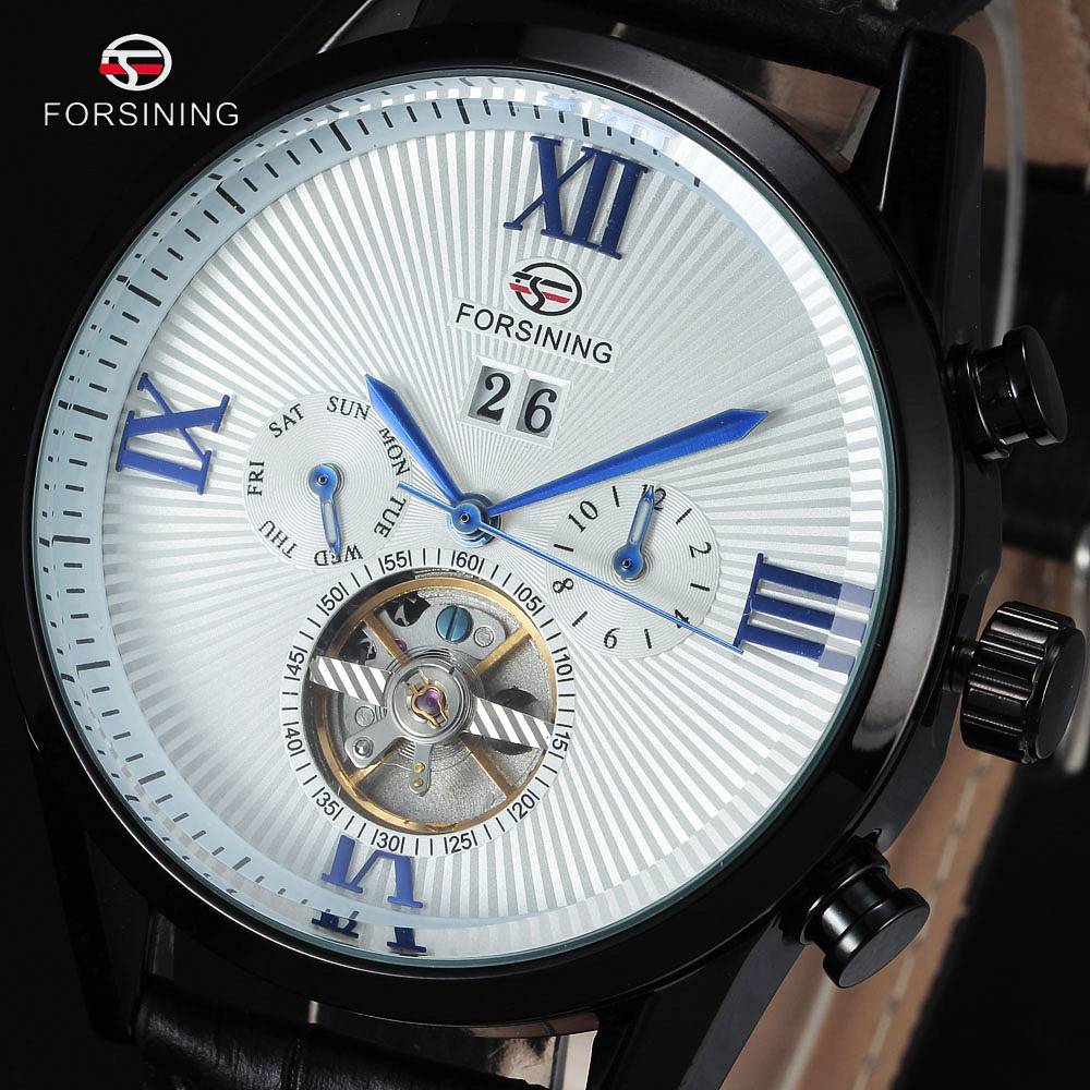 FORSINING Tourbillon Wrap Mens Watches Automatic Watch Black Case Calendar Male Clock Blue Mechanical Watch montre homme luxury кухонная мойка omoikiri tovada 51 bl 510х510 черный 4993369