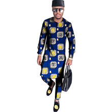 African print shirt+pant men's set clothing long sleeve top with trouser 2 pieces long style shirts man wedding wear customized