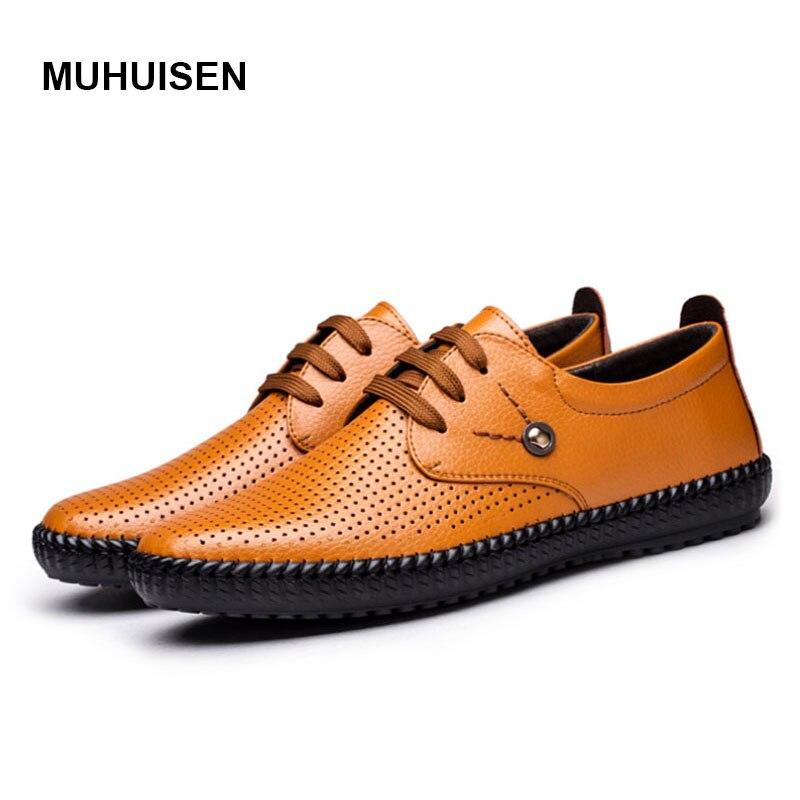 2017 Hombres Zapatos de Cuero Genuino de Verano Zapatos Casuales Zapatos Transpi