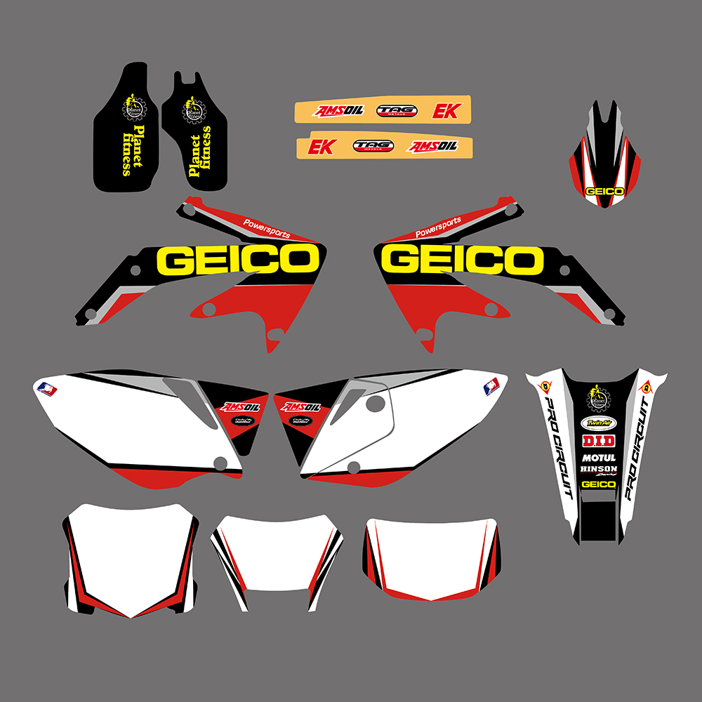 GEICO GRAPHICS & BACKGROUNDS DECALS STICKERS For Honda CRF450X CRF 450X 450 X 2005 2006 07 08 09 10 11 12 13 14 15 16 2017 2018 for honda crf 250r 450r 2004 2006 crf 250x 450x 2004 2015 red motorcycle dirt bike off road cnc pivot brake clutch lever