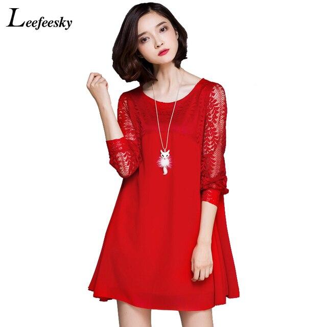 5243d358a096 € 16.75 |Especial Popular Plus tamaño ropa de mujer de moda de verano de  2017 estilo de las mujeres Vestidos de Rojo Negro de encaje de ganchillo ...