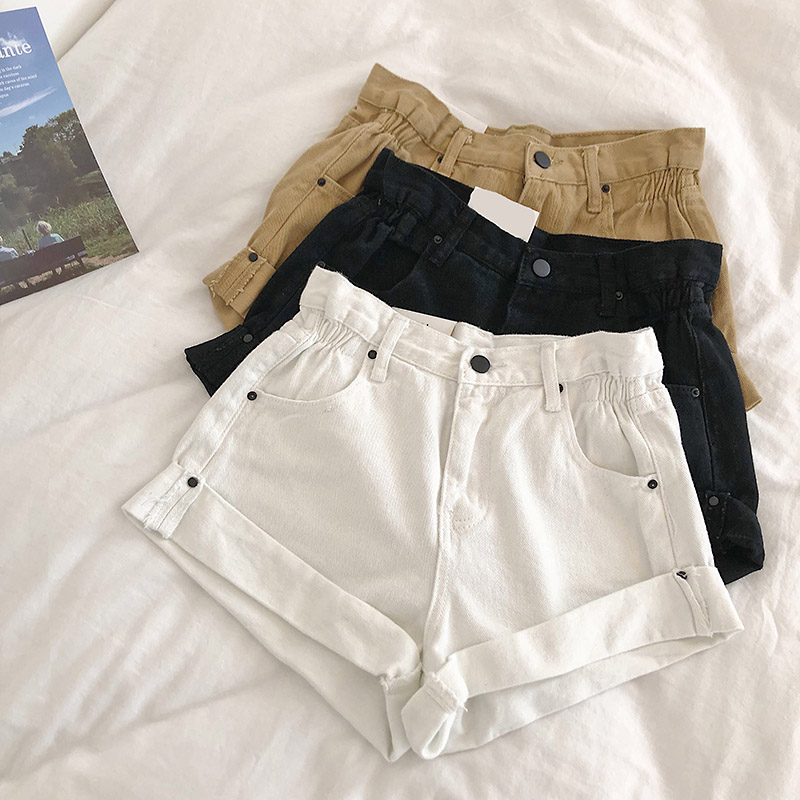 Newst Womens Summer Low Waist Denim Shorts Loose S Xl Ripped Jeans Shorts Casual casual Punk Rivet Hole Mini Jeans Shorts 2019 in Shorts from Women 39 s Clothing