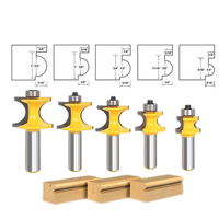 5pcs Bullnose Router Bit Set C3 Carbide Tipped 1 2 Shank For Woodworking Cutter Set