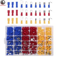 480pcs Assorted Insulated Electrical Wire Terminals Crimp Connectors Spade Ring Butt Fork Terminal Electrical Crimp Wire Cable