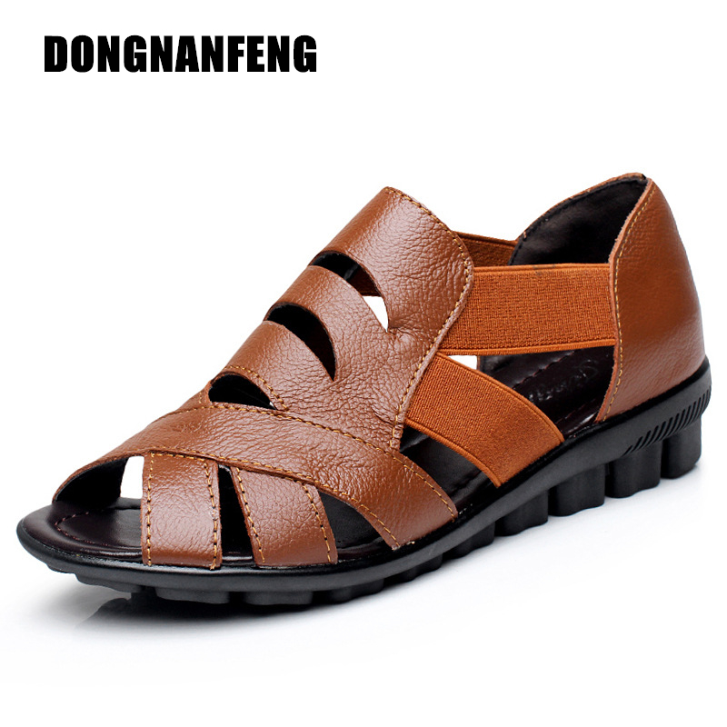 DONGNANFENG Mother Old Women Shoes Flats Sandals Cow Genuine Leather Beach Summer Casual Slip On Cover Heel PU Size 35-43 HCSM-1