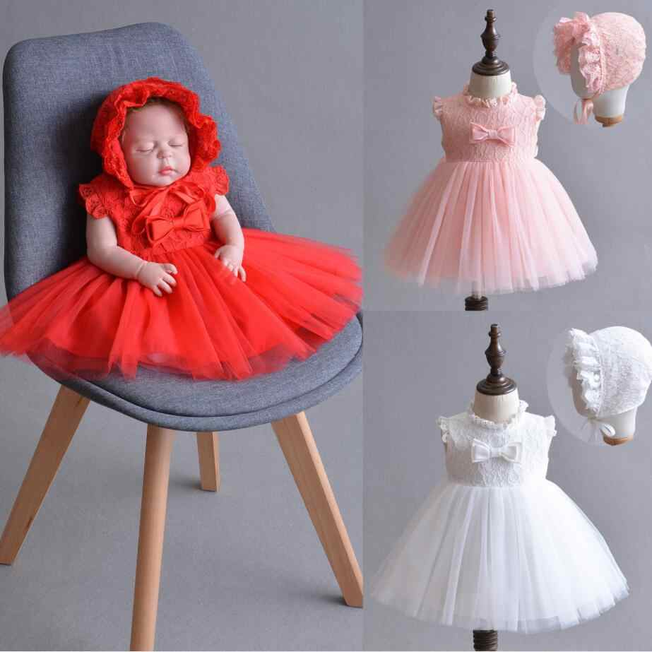 cbdc72ac4f4 2PCs per Set Baby Girl Baptism Dress White Infant Girl Christening Gown Red  Pink Lace Bowknot