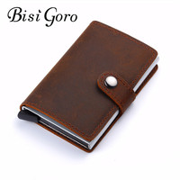 BISI GORO 2018 Men And Women Genuine Leather Card Holder Vintage Purse Crazy Horse Leather Aluminium