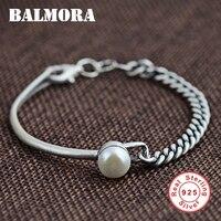 BALMORA 100% Real 925 Sterling Zilveren Sieraden Vintage Gesimuleerde Parel Armbanden Armbanden voor Vrouwen 16 cm Accessoires SY40108