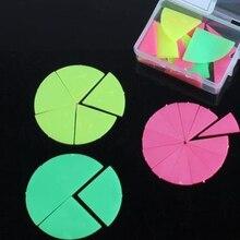Продажа Цветной Пластик дробные Простыни геометрия Диаграмма модели Монтессори Пособия по математике учебных пособий Set круглое блюдо