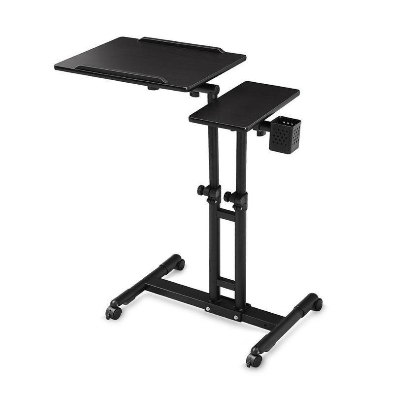 Adjustable Height Rolling Laptop Desk Table Computer Desk