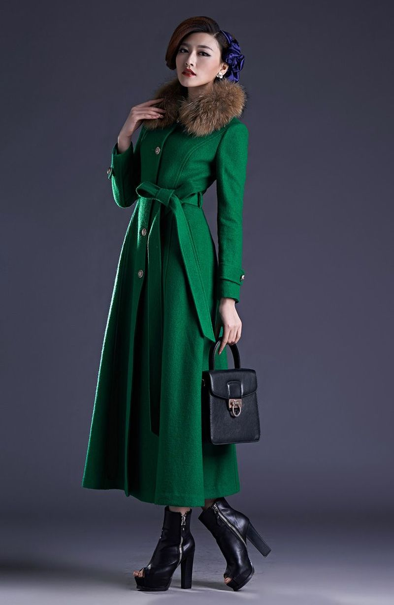 Womens  Full Length Coat Parka Wool Cashmere Long Belt Coat Outwear Trench Luxury Real Fur Collar Slim Fit High Quality