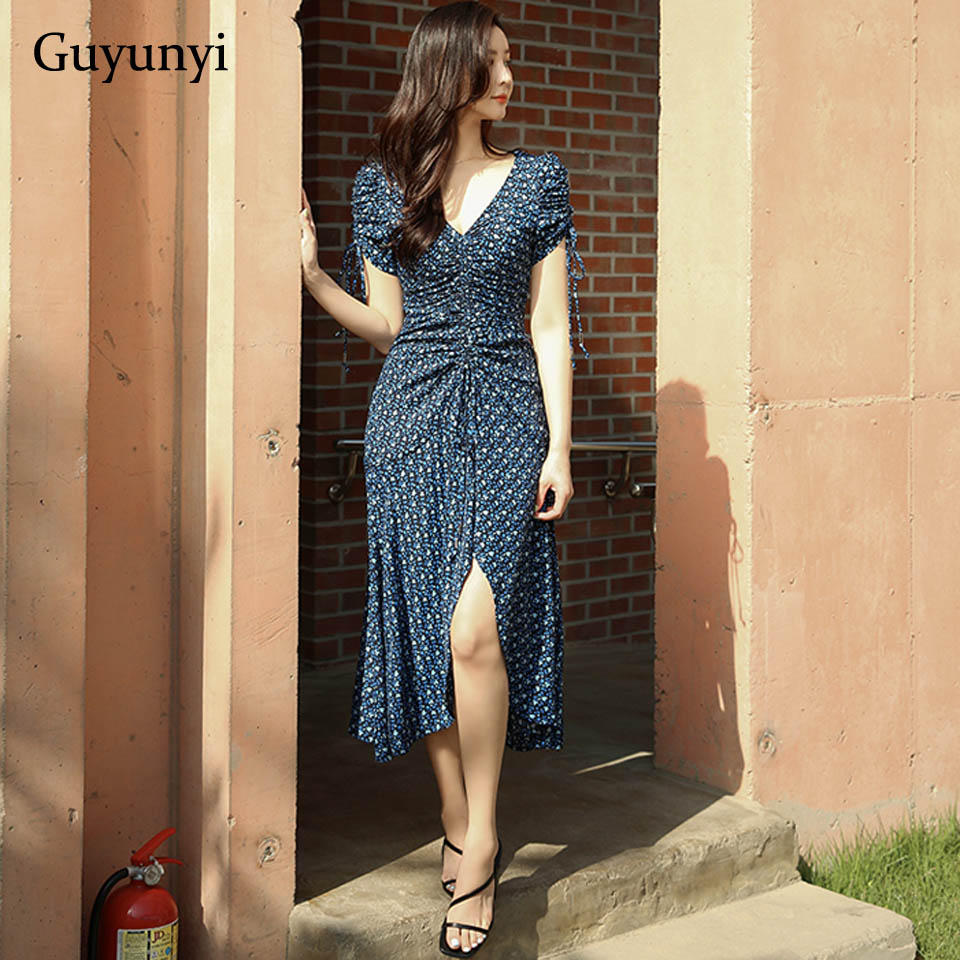 Blue Floral Bohemian Dress 2019 Summer Drawstring Folds And Waist Small Sexy V-Neck Leisurely Vacation Women's Dresses