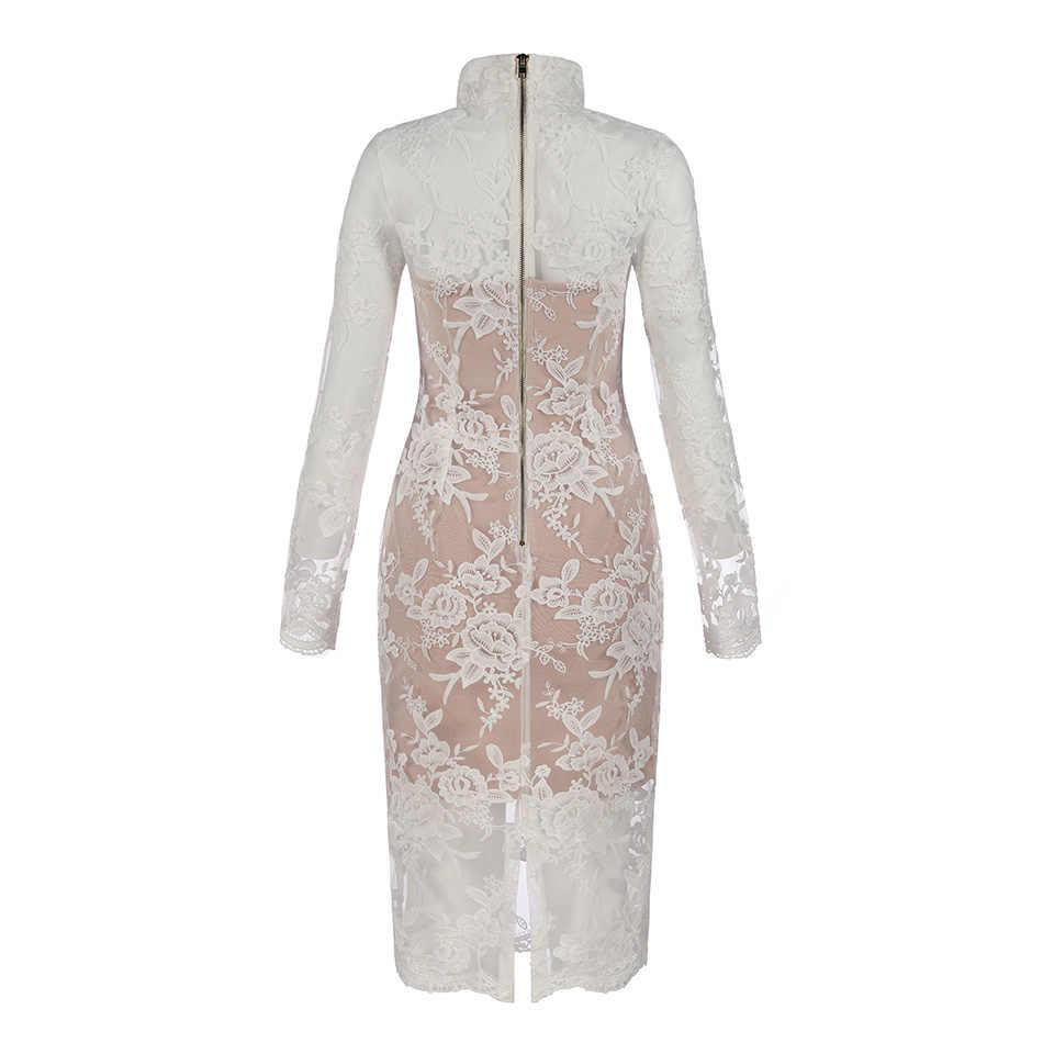 Китайское Дешевое белое Бандажное платье миди с длинным рукавом и цветочной вышивкой 2019 горячая распродажа Новые Вечерние платья с высоким воротом для женщин