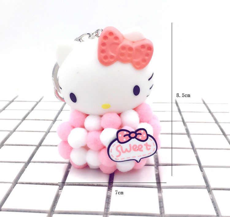 Bonito Dos Desenhos Animados Olá Kitty Bowknot Pompom Da Corrente Chave Keychain Para Mulheres Presente Criativo Saco do Anel Chave do Metal do Ouro Charme Porte brinquedo Clef