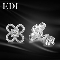EDI Trend 0.2CT Round Cut Moissanites Diamond 14K 585 White Gold Stud Earrings For Women Wedding Jewelry