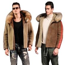 Reversible Sheepskin Fur Coat Genuine Full Pelt Sheep Shearling Male Winter Jacket Black Caramel Warm Men Fur Outwear Big Size