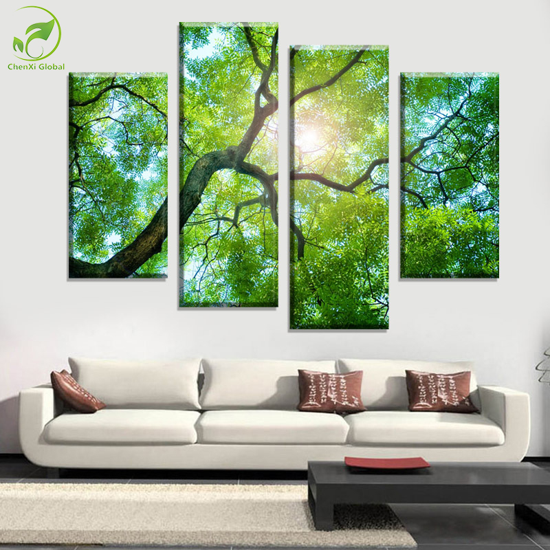 4 Panels Green Tree Painting Canvas Wall Art Picture Home Decoration Living R