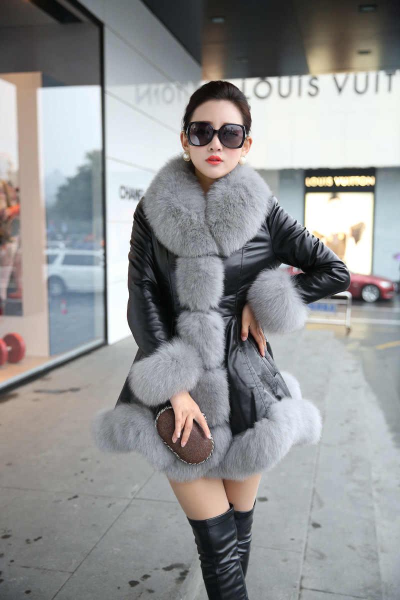 U-SWEAR зима новая имитация лисьего меха воротник кожа Длинный пух перо хлопок Тонкая меховая Шуба Женский Искусственный мех пальто плюс размер S-6XL