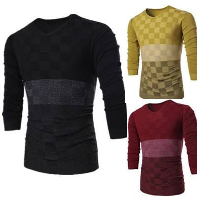 747aa07f116b 2015 new men s fashion gradient color matching V collar knitted sweater
