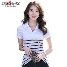20059f75152 SEBOWEL 2019 nuevo Polo de manga corta a rayas de verano de las mujeres  marea Oficina solapa camisa ropa de trabajo, de algodón .
