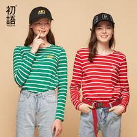 Toyouth Women T Shirts Loose Cotton Striped T Shirt For Women Spring Female Tops With Letters