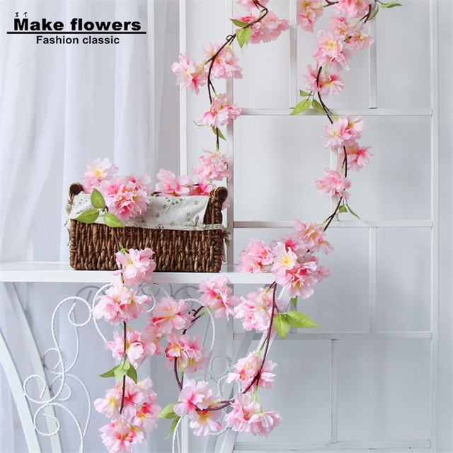Pink Sakura Flower Cherry Rattan Wedding Arch Flower For Wedding