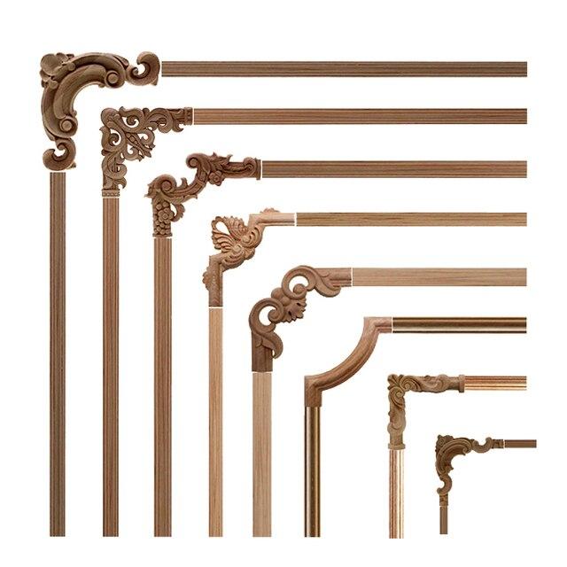 VZLX Dekorative Holz Appliques Unlackiert Eiche Geschnitzt Welle Blume Onlay Aufkleber Ecke Applique für Home Möbel Tür Dekor Handwerk
