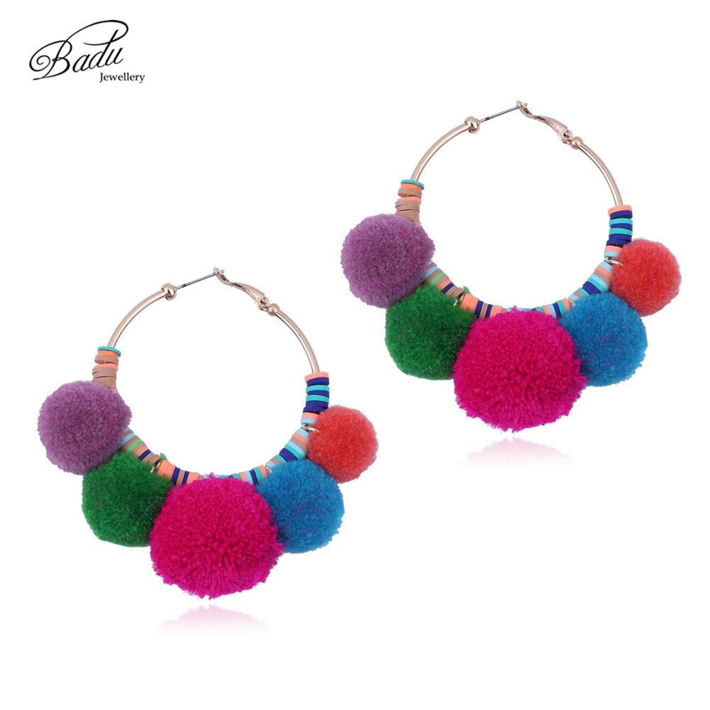 Badu Big Hoop Earrings Round Pompom Women Gold Loop Earring Boho Style Jewelry 2017 Trendy Fashion