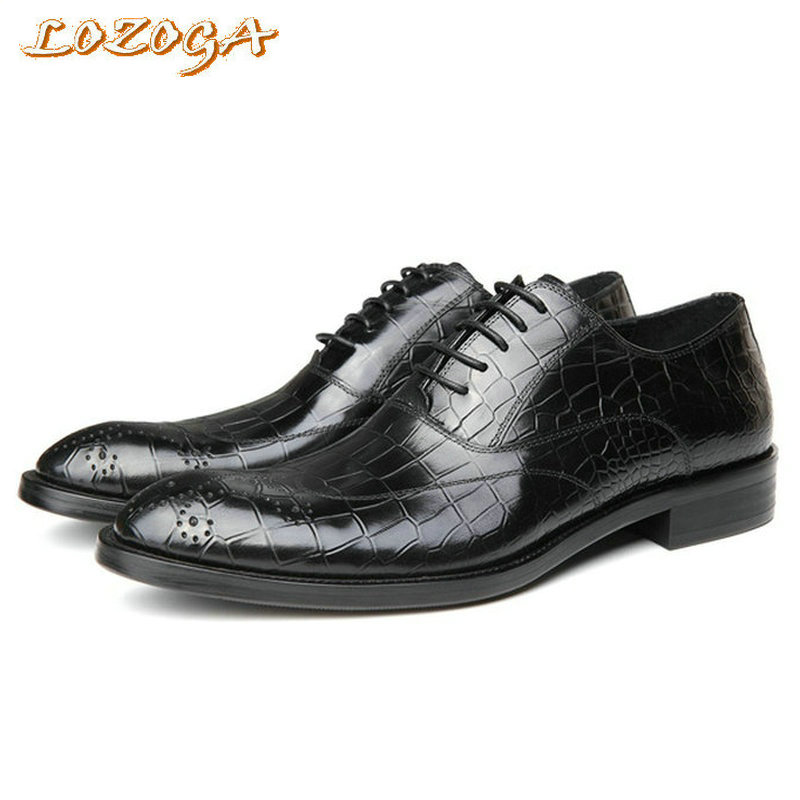 Man Shoes 2017 New Dress Shoes Oxfords Luxury Handmade Lace-Up Business Shoes Alligator Wedding Shoes Pointed Toe Brand Flats goodster handmade oxfords shoes luxury brown carved pointed lace dress leather shoes custom business oxford
