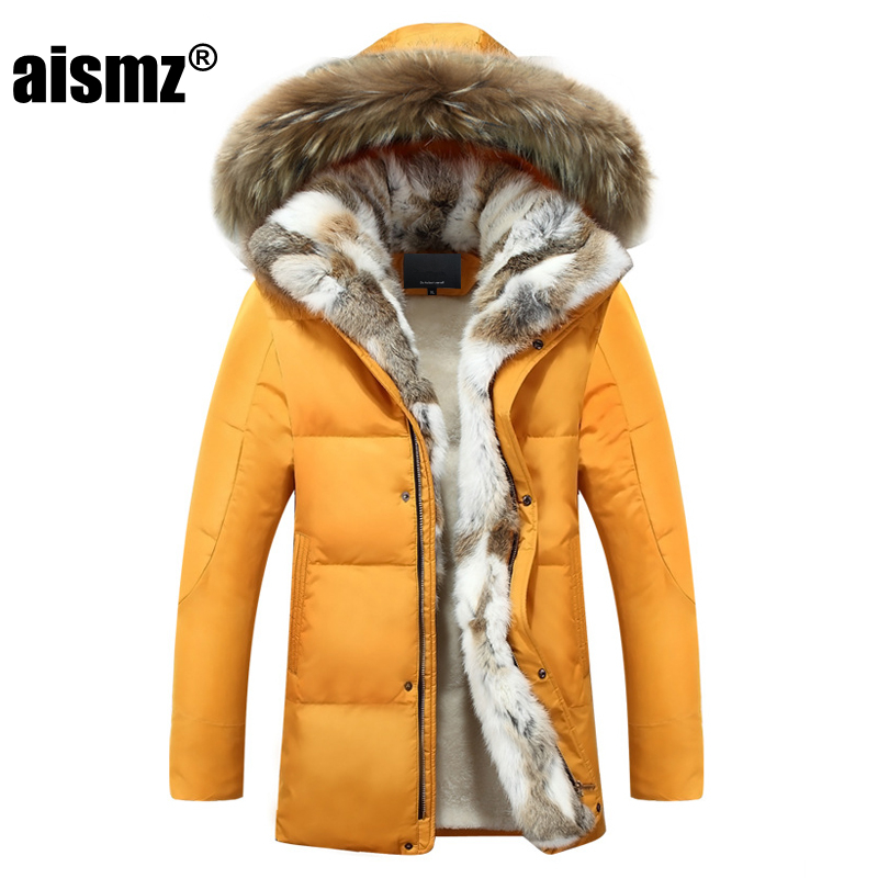 Aismz New Winter jacket men high quality Men's long   down     coat   Fashion big hair collar Thicker warm Hooded leisure jacket 4XL 5XL