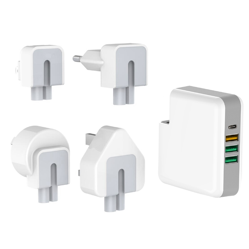ipad iphone 61W PD Multiport Type-C Charger AC/DC Power Adapter QC3.0 Quick Charge Type-C Laptop Adapter For iPad iPhone MacBook Pro (5)