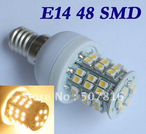 Free Shipping hot selling 20pcs/lot E14 48 SMD LED Warm White led Bulb light  spotlights 220V 3W