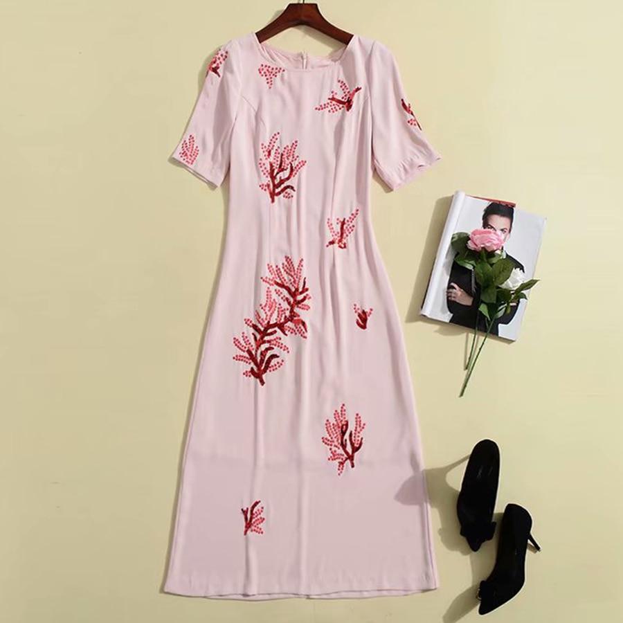 RoosaRosee rojo pesado bordado Floral lentejuelas manga corta rosa Midi vestido verano 2019 pasarela diseñador fiesta vestido-in Vestidos from Ropa de mujer    1