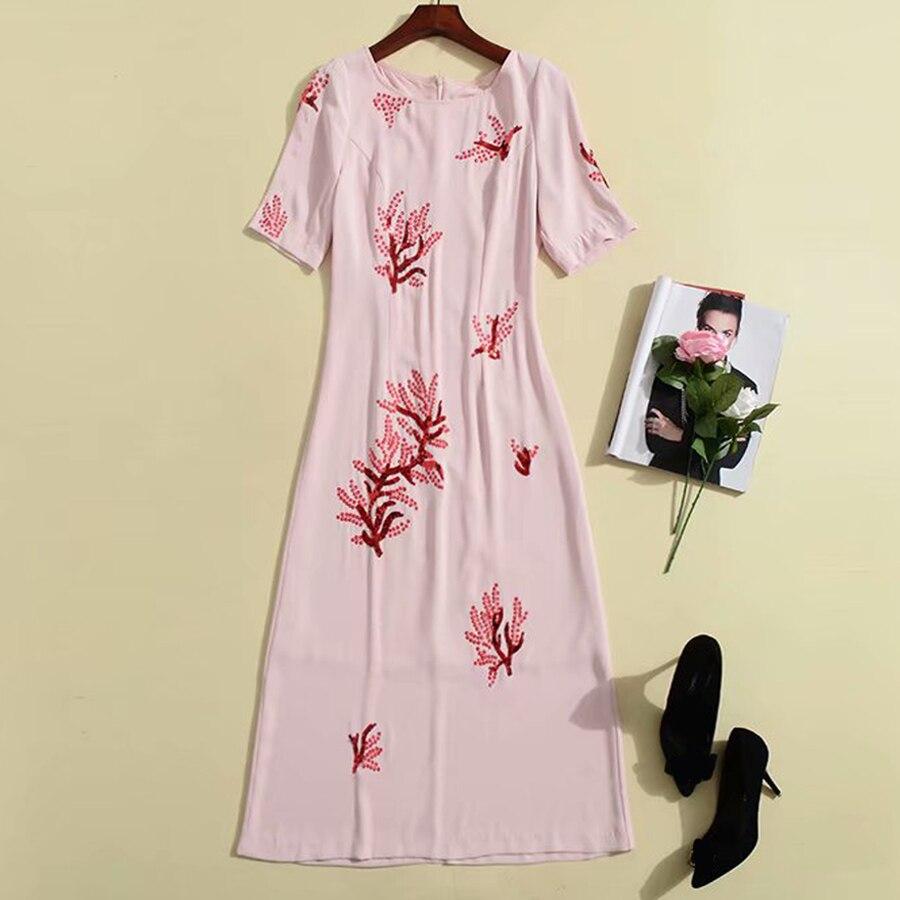 레드 roosarosee 무거운 붉은 꽃 자수 장식 조각 짧은 소매 핑크 미디 드레스 여름 2019 활주로 디자이너 파티 vestidos 가운-에서드레스부터 여성 의류 의  그룹 1