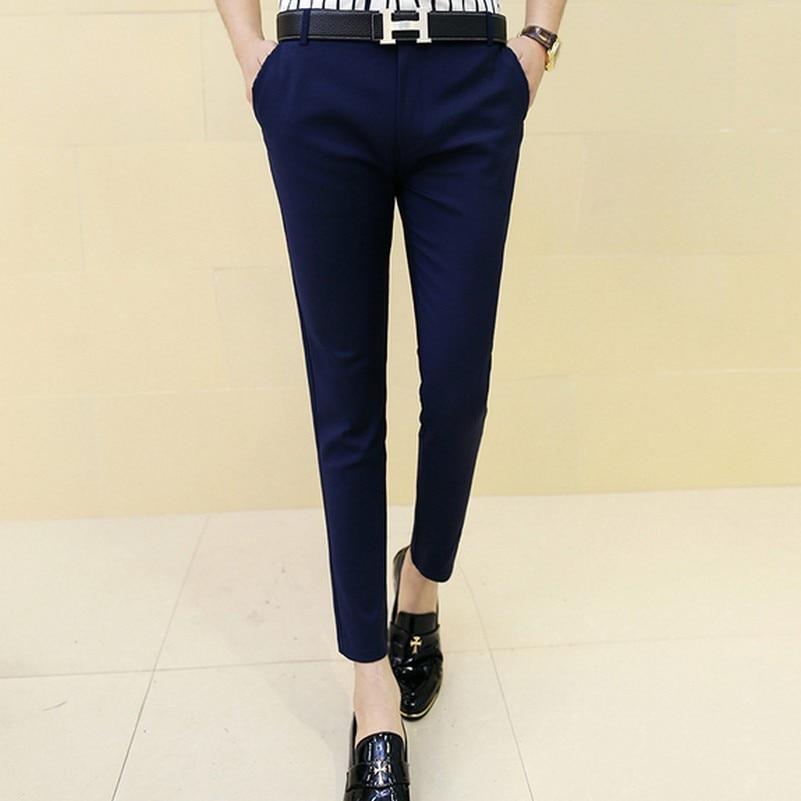 Male Summer Elastic Skinny Fashion Dress Pants Slim Casual Ankle Length Pantalon Homme Men Slim Fit Suit Pants